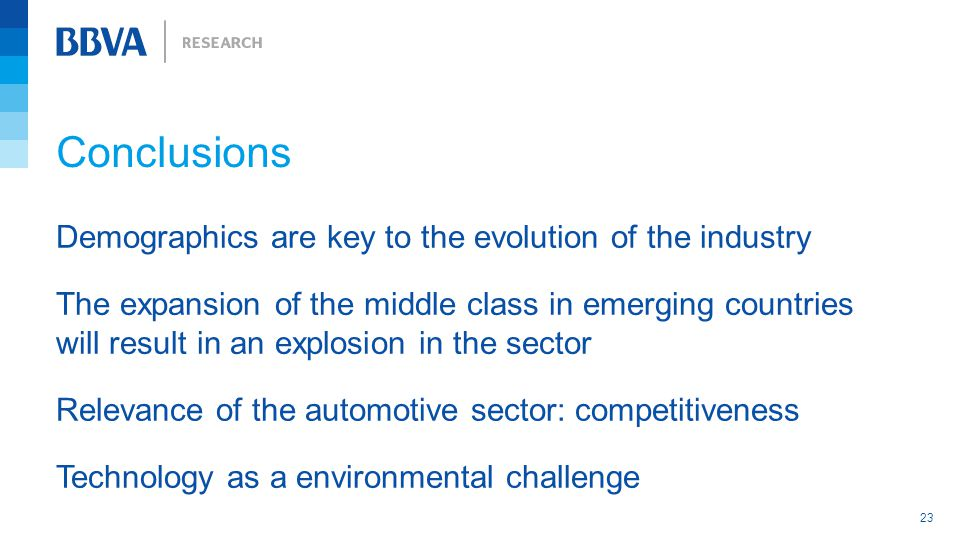 Conclusions 23 Relevance of the automotive sector: competitiveness Demographics are key to the evolution of the industry The expansion of the middle class in emerging countries will result in an explosion in the sector Technology as a environmental challenge