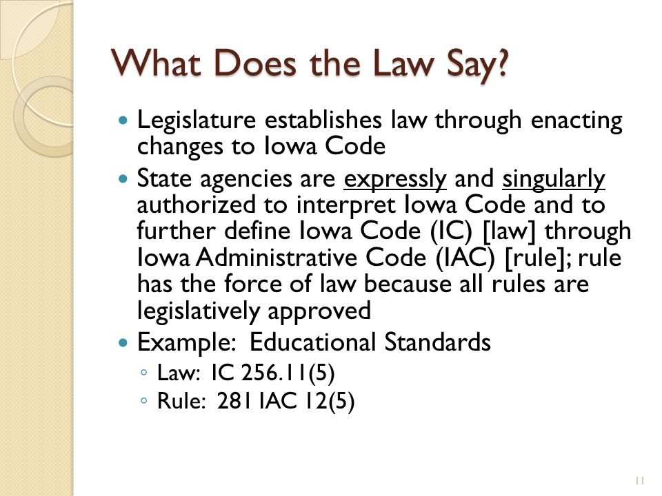What Does the Law Say? Legislature establishes law through enacting changes to Iowa Code State agencies are expressly and singularly authorized to int