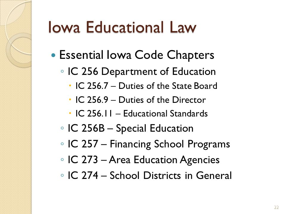 Iowa Educational Law Essential Iowa Code Chapters ◦ IC 256 Department of Education  IC 256.7 – Duties of the State Board  IC 256.9 – Duties of the Director  IC 256.11 – Educational Standards ◦ IC 256B – Special Education ◦ IC 257 – Financing School Programs ◦ IC 273 – Area Education Agencies ◦ IC 274 – School Districts in General 22