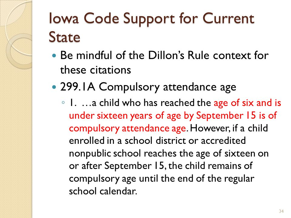 Iowa Code Support for Current State Be mindful of the Dillon's Rule context for these citations 299.1A Compulsory attendance age ◦ 1. …a child who has