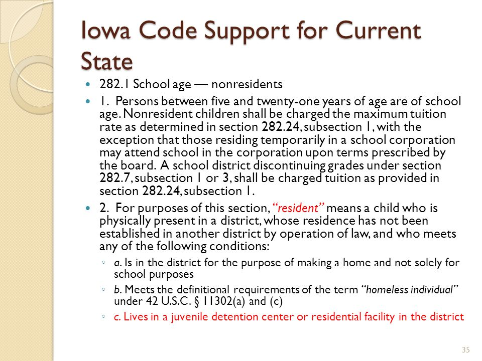 Iowa Code Support for Current State 282.1 School age — nonresidents 1.