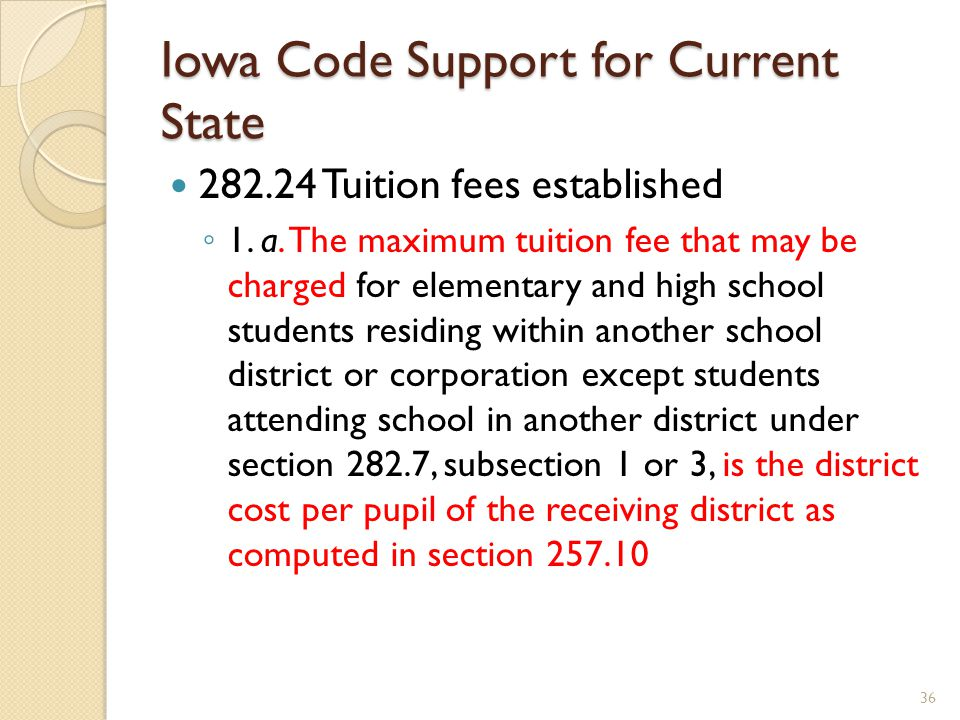 Iowa Code Support for Current State 282.24 Tuition fees established ◦ 1. a. The maximum tuition fee that may be charged for elementary and high school