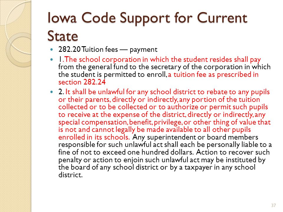Iowa Code Support for Current State 282.20 Tuition fees — payment 1.