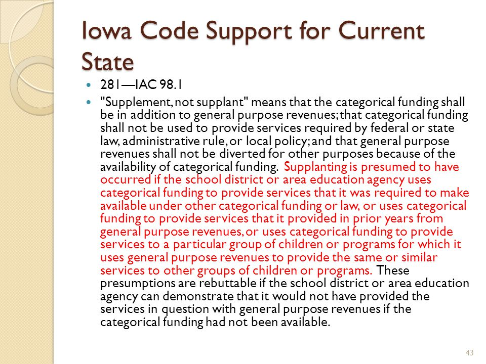 Iowa Code Support for Current State 281—IAC 98.1