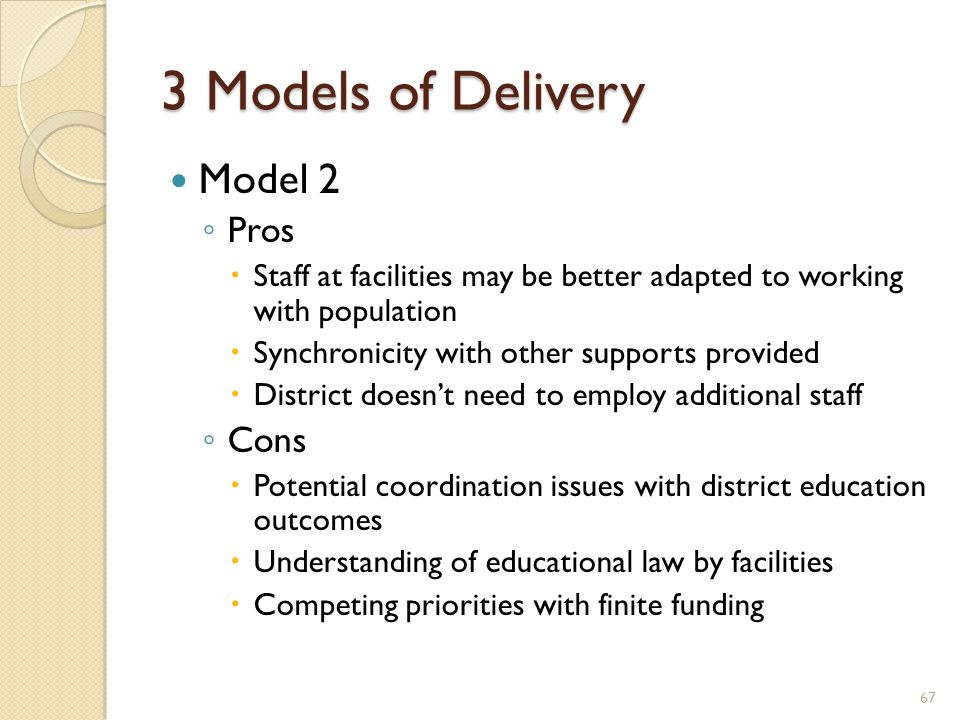 3 Models of Delivery Model 2 ◦ Pros  Staff at facilities may be better adapted to working with population  Synchronicity with other supports provide