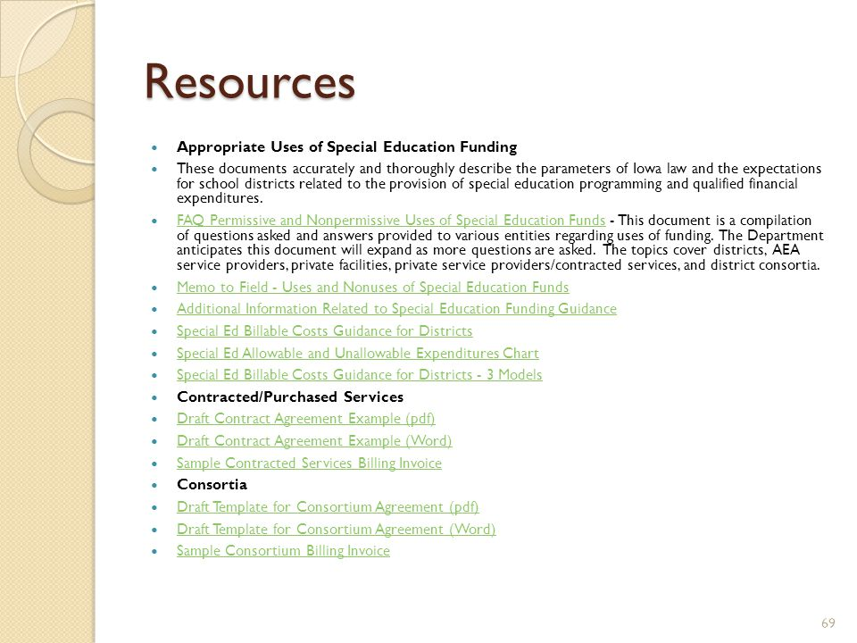 Resources Appropriate Uses of Special Education Funding These documents accurately and thoroughly describe the parameters of Iowa law and the expectations for school districts related to the provision of special education programming and qualified financial expenditures.