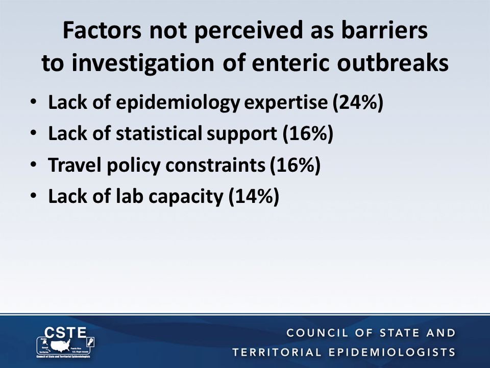 Factors not perceived as barriers to investigation of enteric outbreaks Lack of epidemiology expertise (24%) Lack of statistical support (16%) Travel