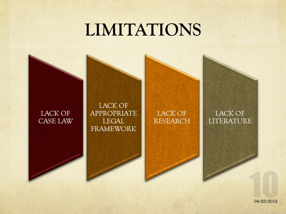 LIMITATIONS LACK OF CASE LAW LACK OF APPROPRIATE LEGAL FRAMEWORK LACK OF RESEARCH LACK OF LITERATURE 04/23/2012