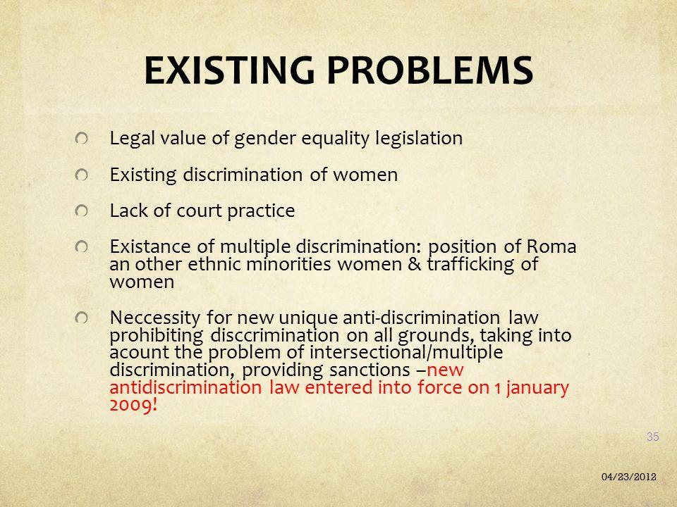 EXISTING PROBLEMS Legal value of gender equality legislation Existing discrimination of women Lack of court practice Existance of multiple discriminat