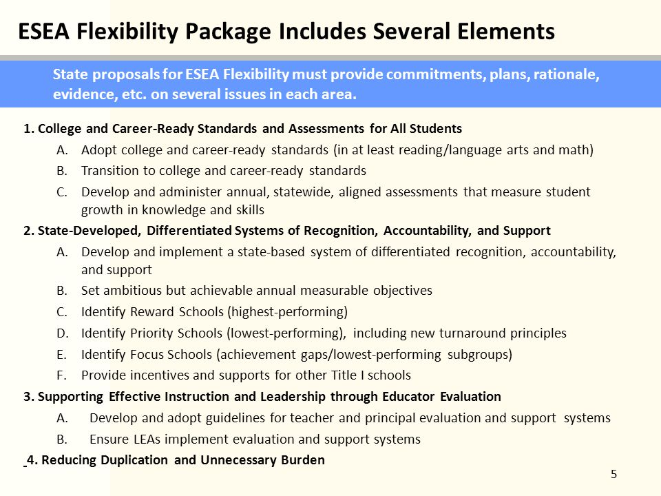 ESEA Flexibility Package Includes Several Elements 5 State proposals for ESEA Flexibility must provide commitments, plans, rationale, evidence, etc.