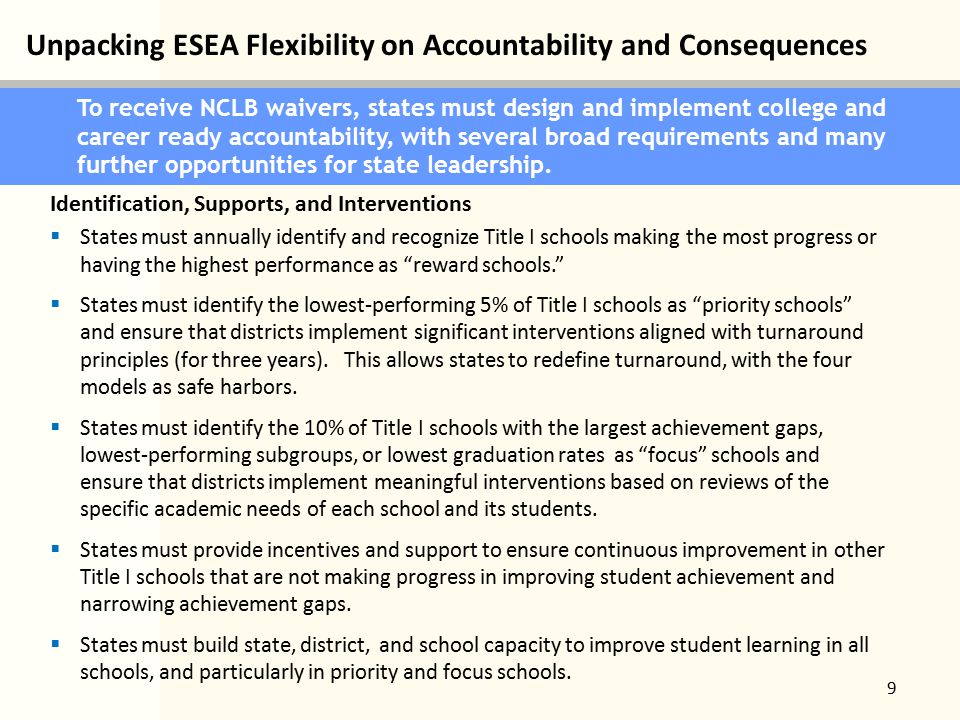 Unpacking ESEA Flexibility on Accountability and Consequences 9 To receive NCLB waivers, states must design and implement college and career ready accountability, with several broad requirements and many further opportunities for state leadership.