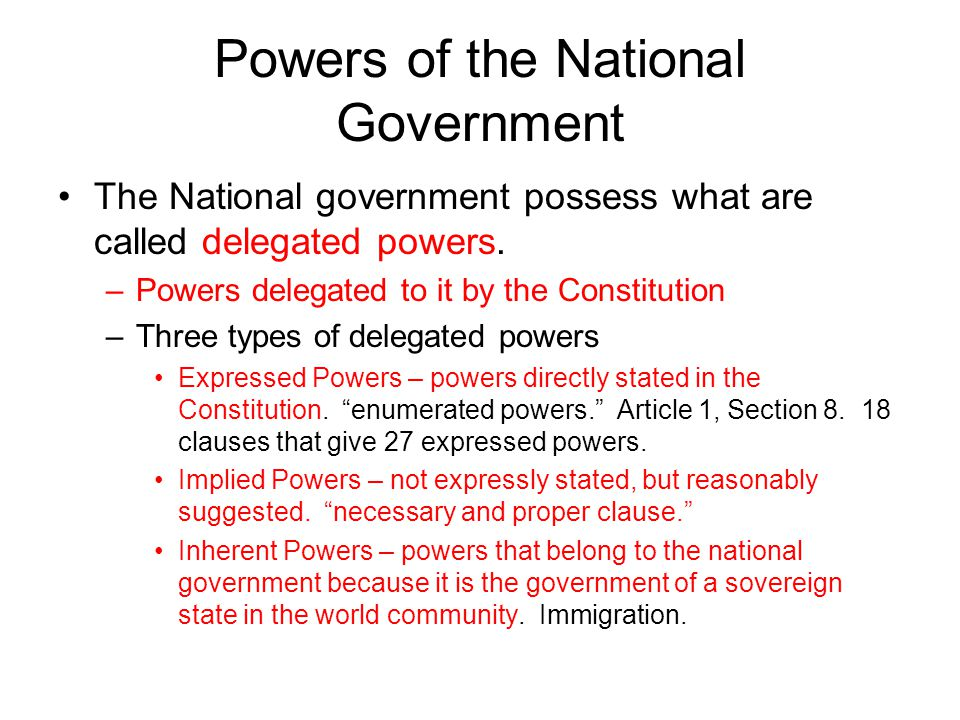 Powers Denied to the National Government 1.The Constitution denies some powers to the national government expressly.