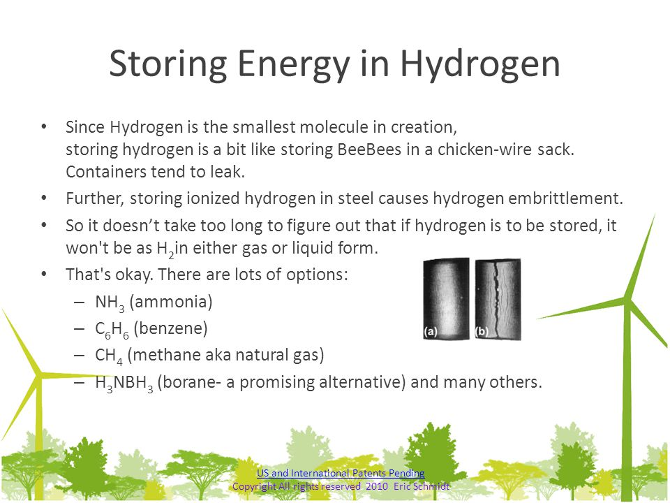 Storing Energy in Hydrogen Since Hydrogen is the smallest molecule in creation, storing hydrogen is a bit like storing BeeBees in a chicken-wire sack.