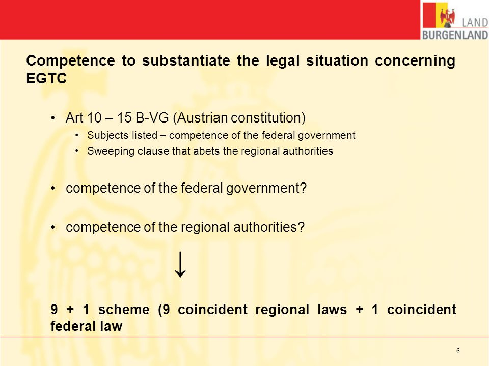 The legal situation concerning EGTC in Burgenland Gesetz vom 24.