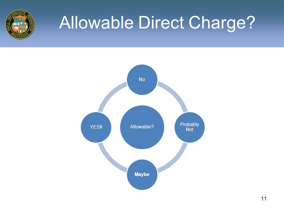 Allowable Direct Charge 11
