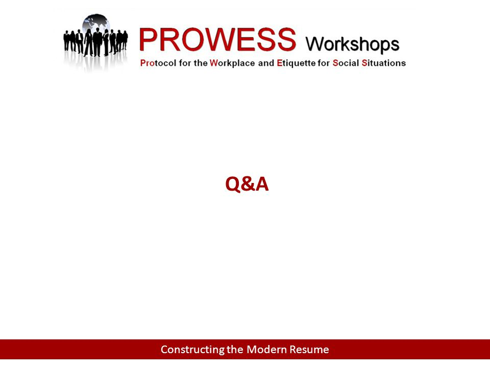 Constructing the Modern Resume Q&A