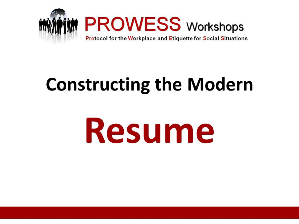 Constructing the Modern Resume