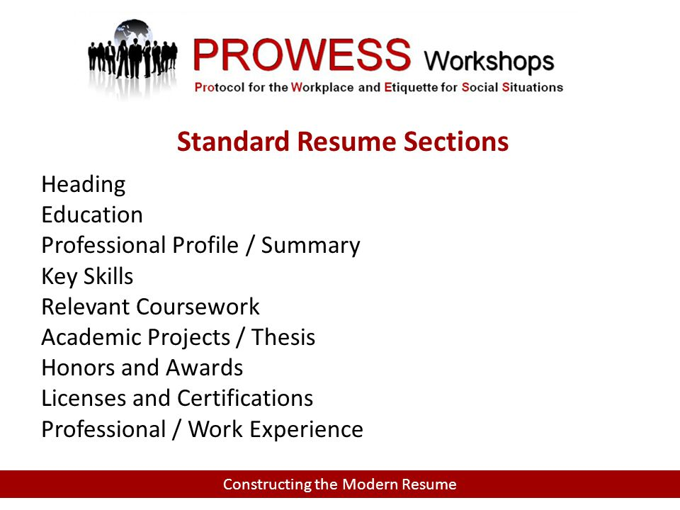 Heading Education Professional Profile / Summary Key Skills Relevant Coursework Academic Projects / Thesis Honors and Awards Licenses and Certifications Professional / Work Experience Constructing the Modern Resume Standard Resume Sections