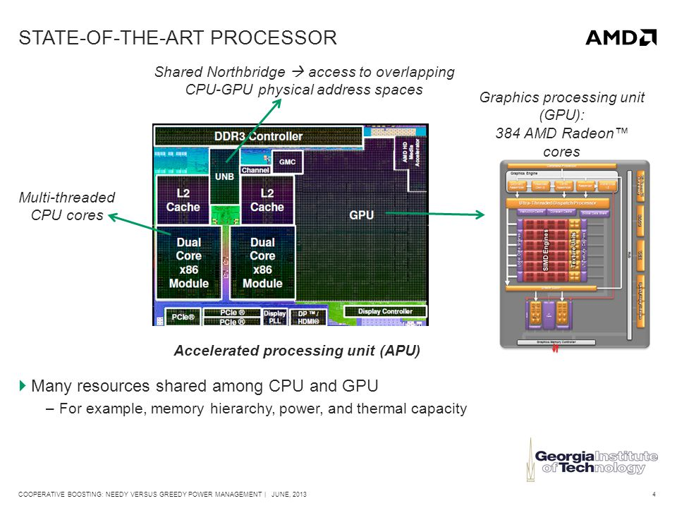 4COOPERATIVE BOOSTING: NEEDY VERSUS GREEDY POWER MANAGEMENT | JUNE, 2013 STATE-OF-THE-ART PROCESSOR Graphics processing unit (GPU): 384 AMD Radeon™ cores Multi-threaded CPU cores Shared Northbridge  access to overlapping CPU-GPU physical address spaces  Many resources shared among CPU and GPU –For example, memory hierarchy, power, and thermal capacity Accelerated processing unit (APU)