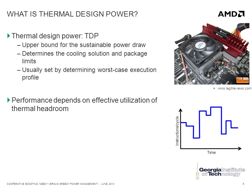 7COOPERATIVE BOOSTING: NEEDY VERSUS GREEDY POWER MANAGEMENT | JUNE, 2013 STATE-OF-THE-ART: BI-DIRECTIONAL APPLICATION POWER MANAGEMENT (BAPM)  Power management algorithm 1.Calculate digital estimate of power consumption 2.Convert power to temperature - RC network model for heat transfer 3.Assign new power budgets to TEs based on temperature headroom 4.TEs locally control (boost) their own DVFS states Chip is divided into BAPM-controlled thermal entities (TEs) CU0 TE CU1 TE GPU TE
