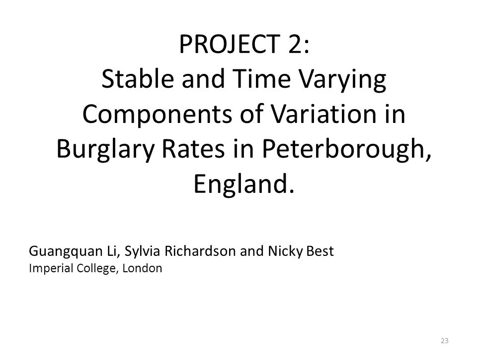 PROJECT 2: Stable and Time Varying Components of Variation in Burglary Rates in Peterborough, England.