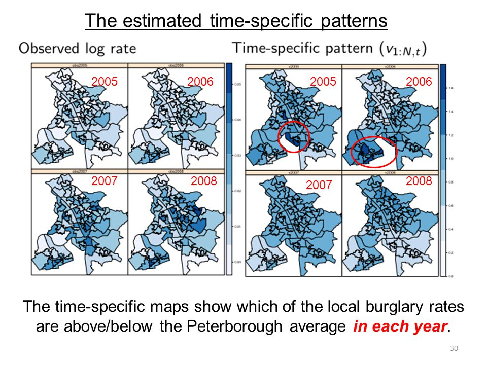 The time-specific maps show which of the local burglary rates are above/below the Peterborough average in each year.
