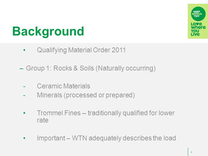 Background 18 th May 2012 - Guidance Brief: 15/12 – trommel fines do not qualify!.
