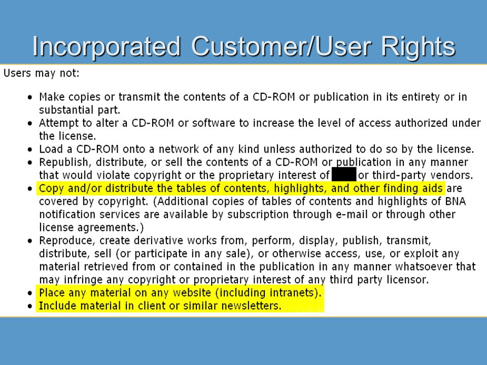 Incorporated Customer/User Rights
