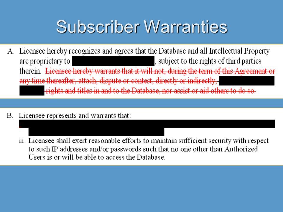 Subscriber Warranties