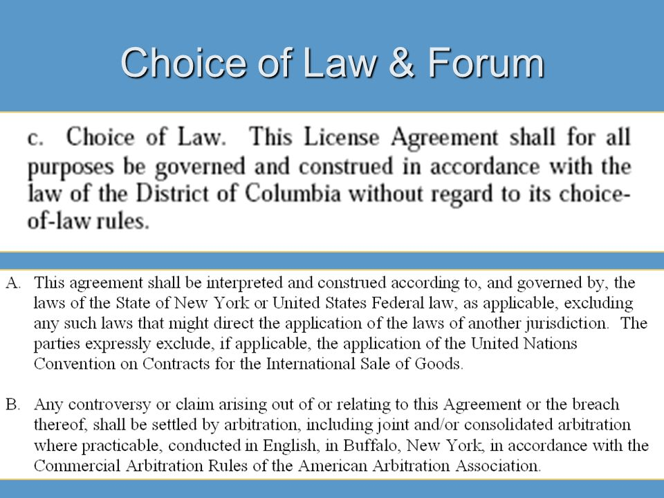 Choice of Law & Forum