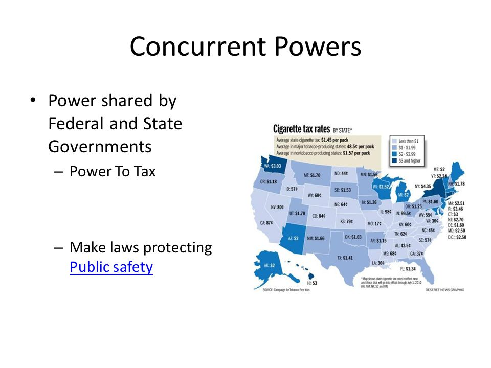 Concurrent Powers Power shared by Federal and State Governments – Power To Tax – Make laws protecting Public safety Public safety