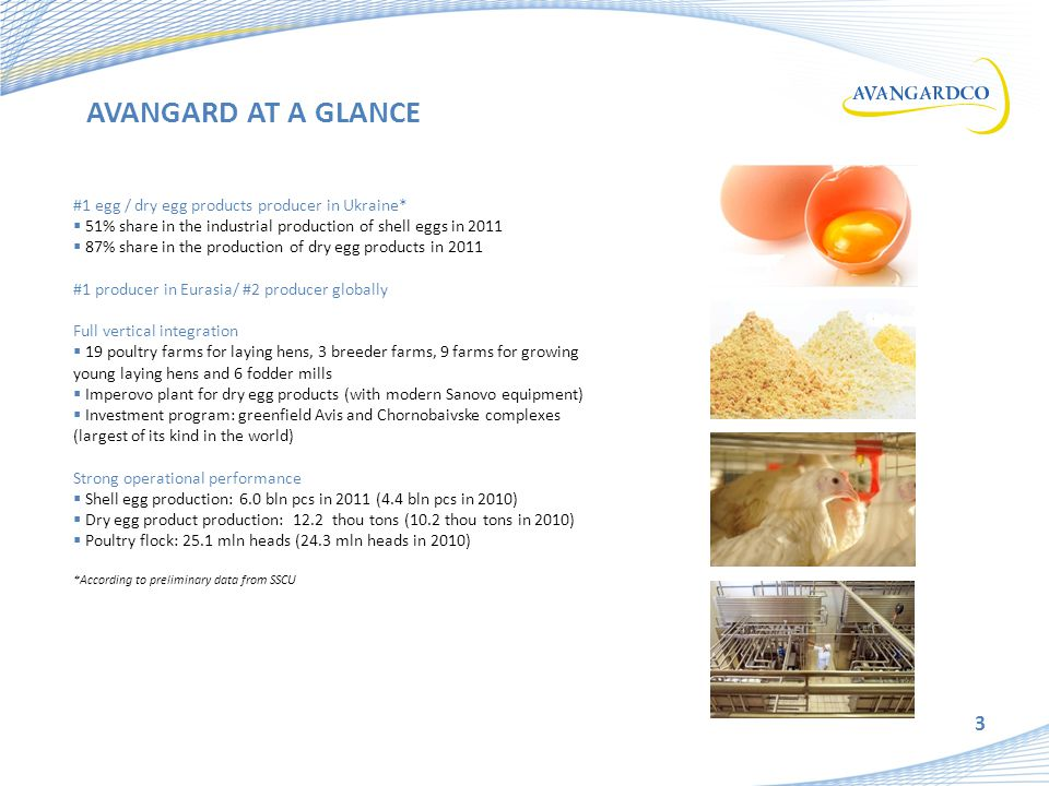 3 #1 egg / dry egg products producer in Ukraine*  51% share in the industrial production of shell eggs in 2011  87% share in the production of dry egg products in 2011 #1 producer in Eurasia/ #2 producer globally Full vertical integration  19 poultry farms for laying hens, 3 breeder farms, 9 farms for growing young laying hens and 6 fodder mills  Imperovo plant for dry egg products (with modern Sanovo equipment) nvestment program: greenfield Avis and Chornobaivske complexes (largest of its kind in the world) Strong operational performance  Shell egg production: 6.0 bln pcs in 2011 (4.4 bln pcs in 2010)  Dry egg product production: 12.2 thou tons (10.2 thou tons in 2010)  Poultry flock: 25.1 mln heads (24.3 mln heads in 2010) *According to preliminary data from SSCU AVANGARD AT A GLANCE