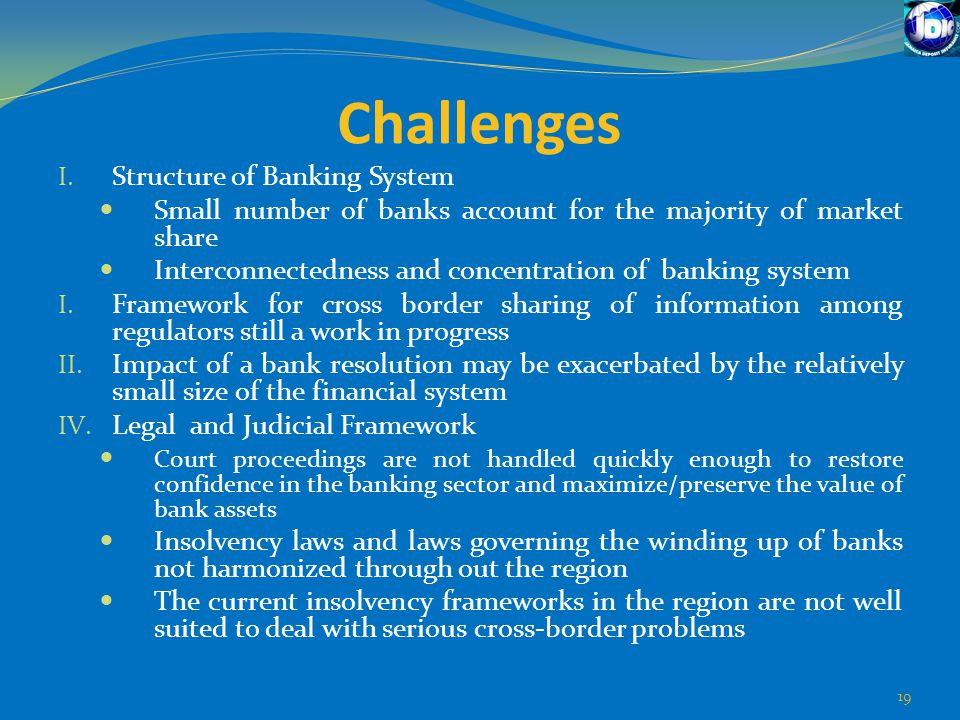 Challenges I. Structure of Banking System Small number of banks account for the majority of market share Interconnectedness and concentration of banki