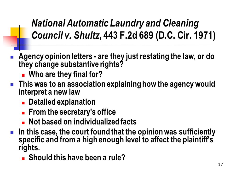 17 National Automatic Laundry and Cleaning Council v.