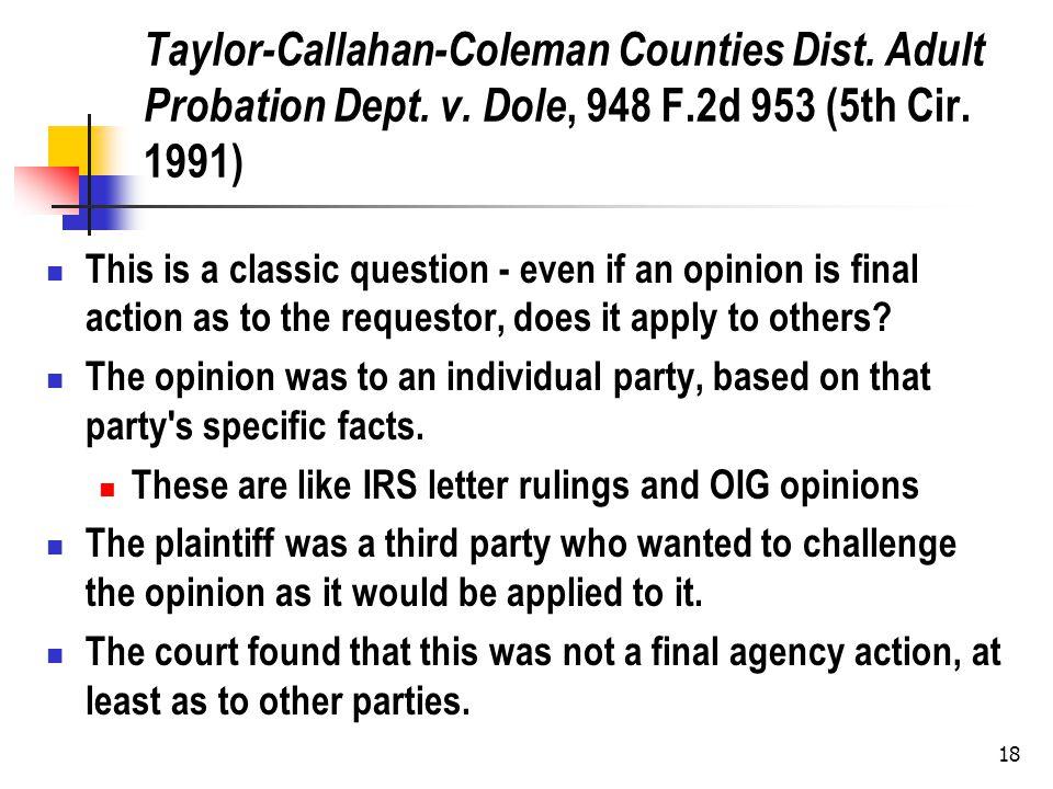 18 Taylor-Callahan-Coleman Counties Dist. Adult Probation Dept.