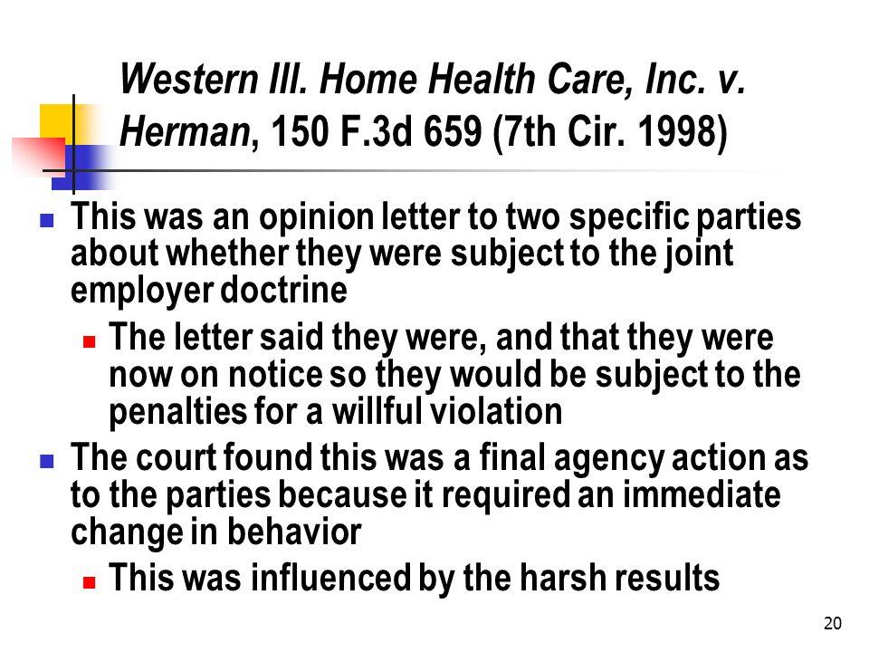 20 Western Ill. Home Health Care, Inc. v. Herman, 150 F.3d 659 (7th Cir.