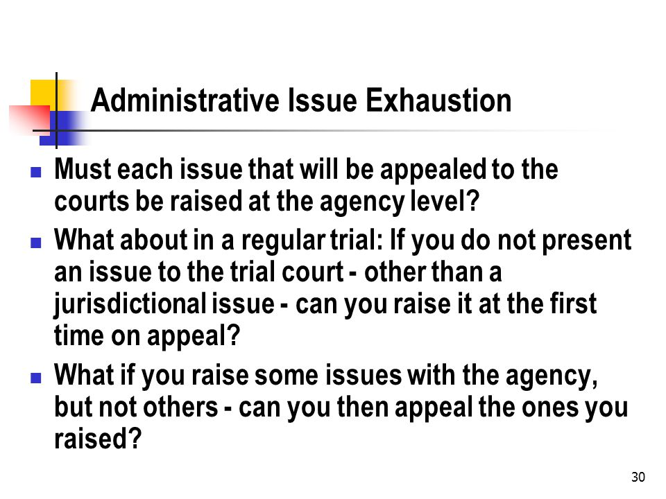 30 Administrative Issue Exhaustion Must each issue that will be appealed to the courts be raised at the agency level.