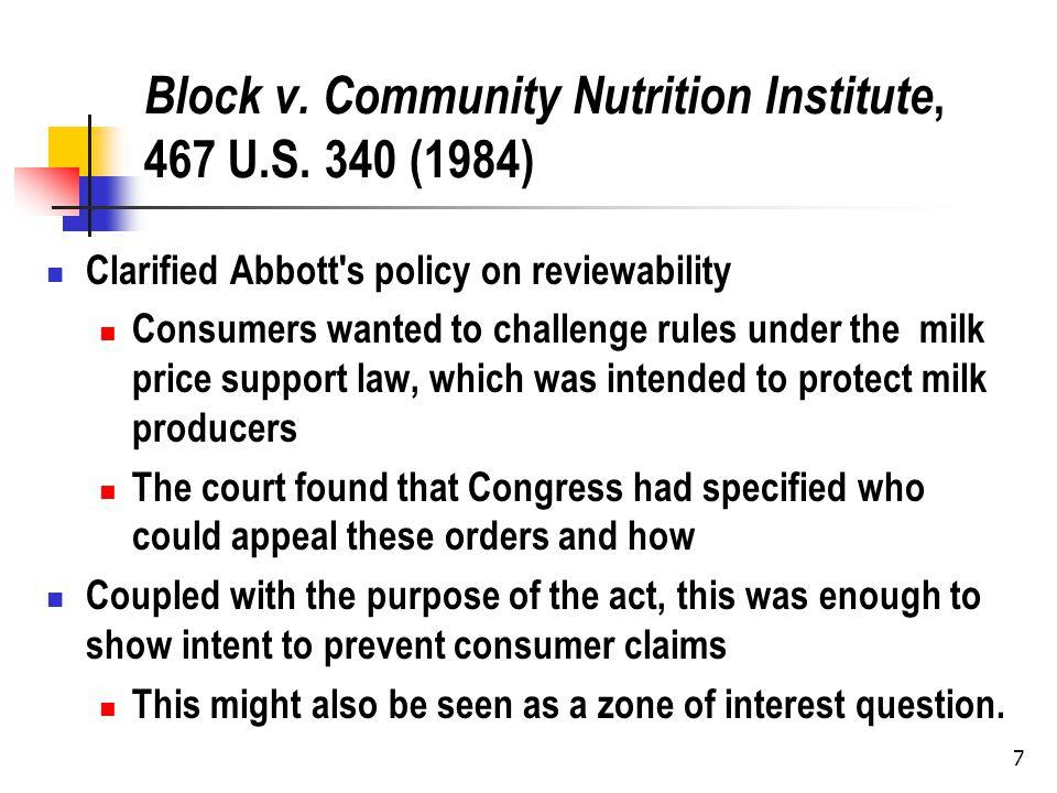 7 Block v. Community Nutrition Institute, 467 U.S.
