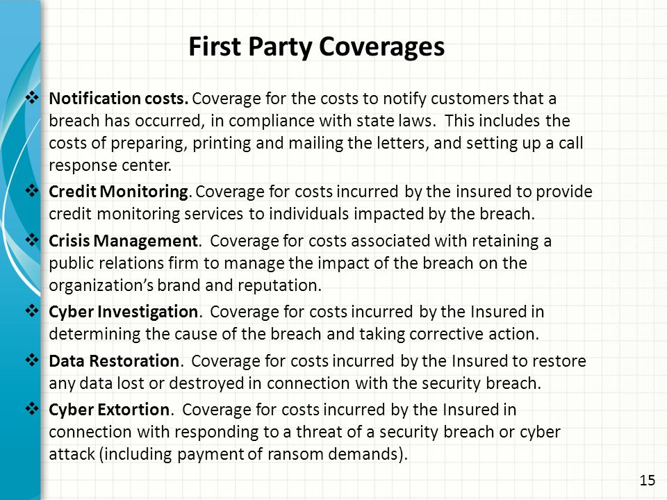 First Party Coverages  Notification costs.
