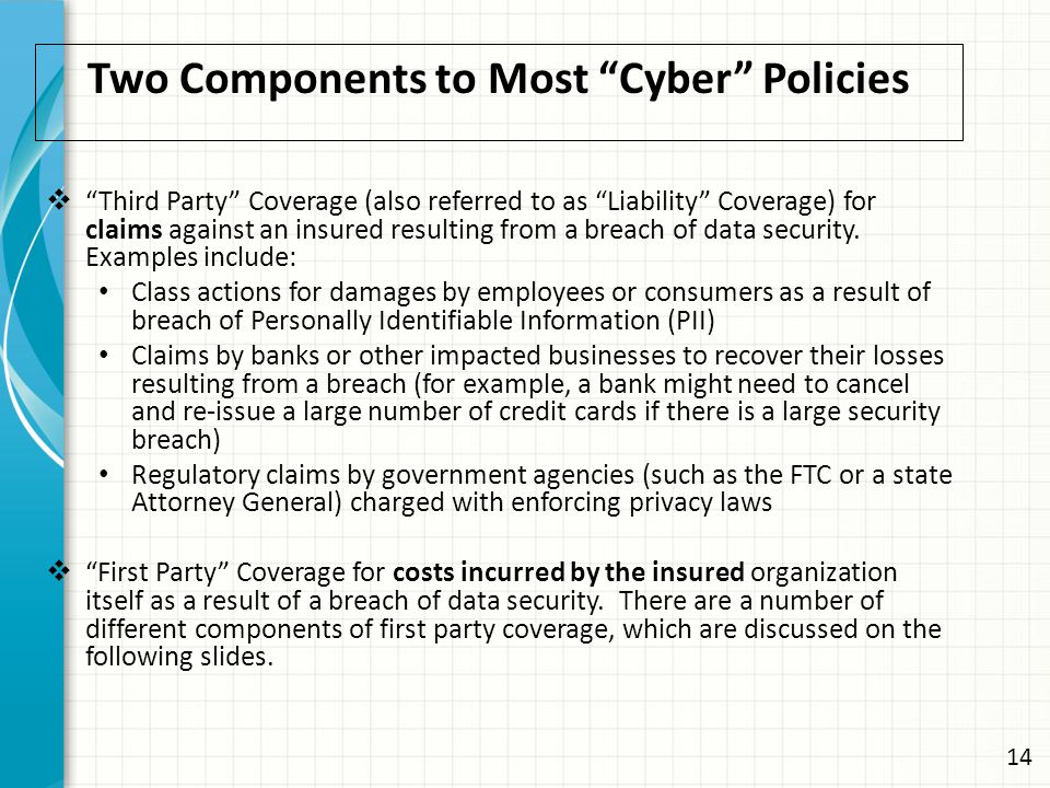 Two Components to Most Cyber Policies  Third Party Coverage (also referred to as Liability Coverage) for claims against an insured resulting from a breach of data security.