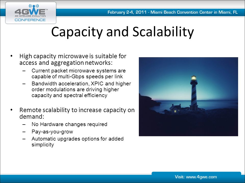Capacity and Scalability High capacity microwave is suitable for access and aggregation networks: –Current packet microwave systems are capable of mul