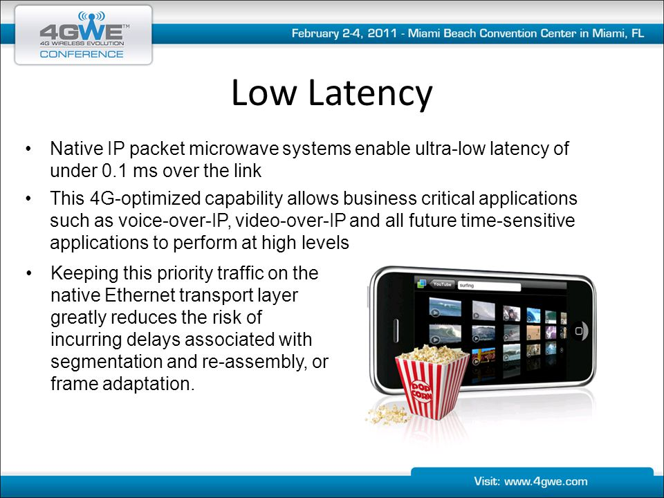 Low Latency Native IP packet microwave systems enable ultra-low latency of under 0.1 ms over the link This 4G-optimized capability allows business cri