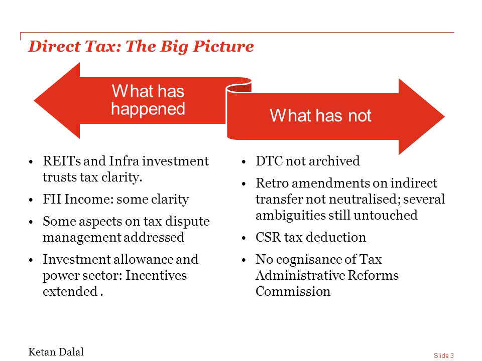 Slide 3 Direct Tax: The Big Picture REITs and Infra investment trusts tax clarity.
