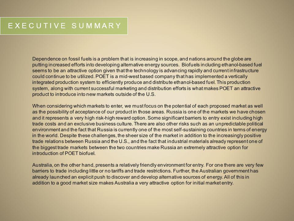 Summary Environmental Analysis: Russia and Australia