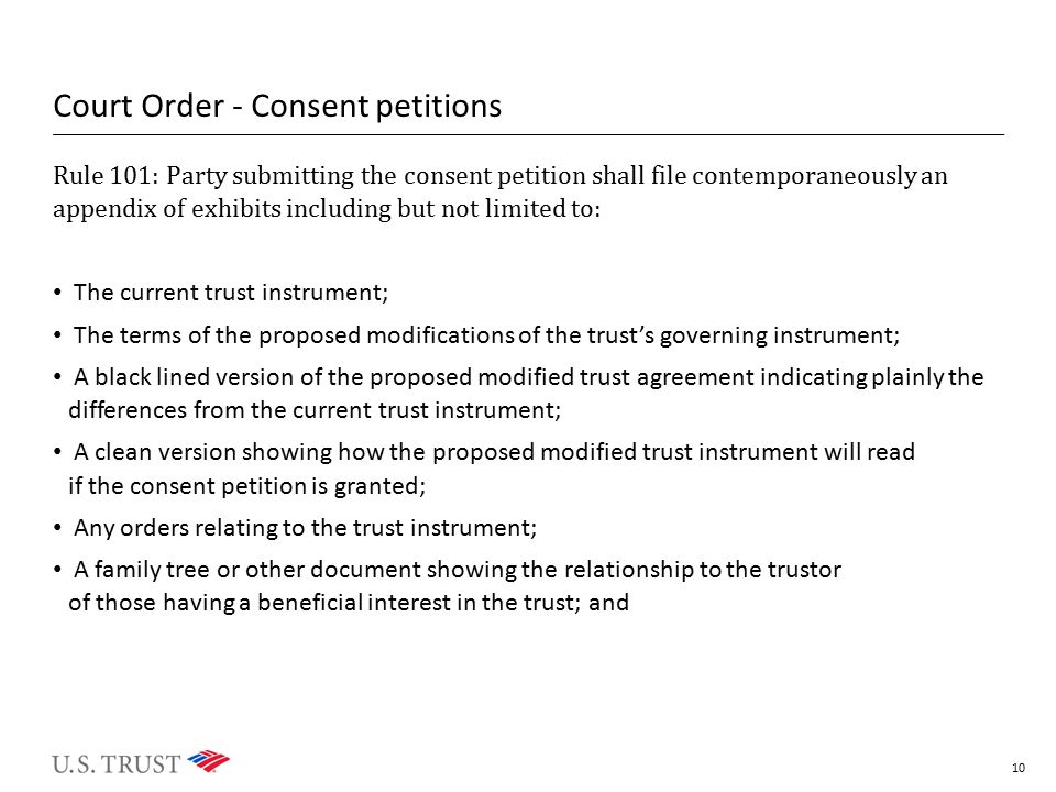 Court Order - Consent petitions Rule 101: Party submitting the consent petition shall file contemporaneously an appendix of exhibits including but not
