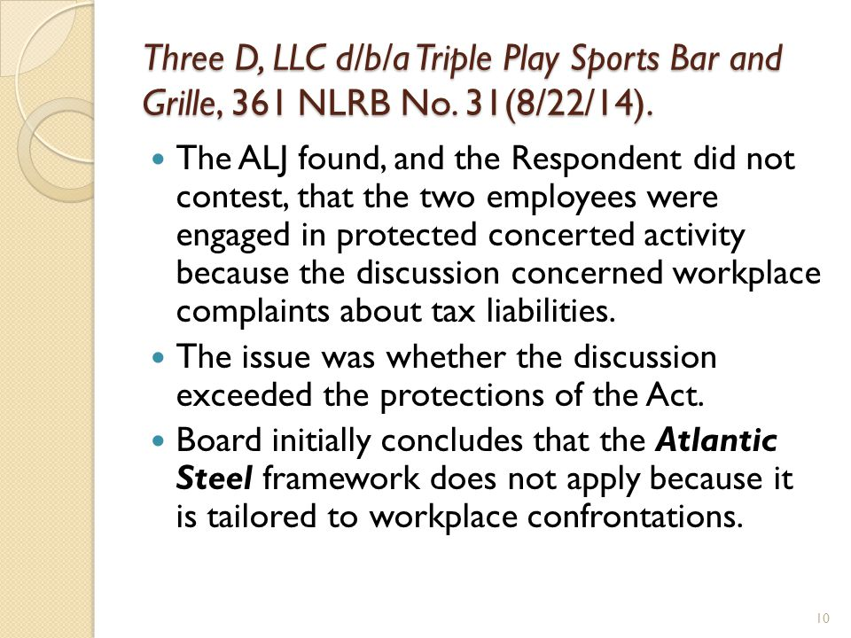 Three D, LLC d/b/a Triple Play Sports Bar and Grille, 361 NLRB No.