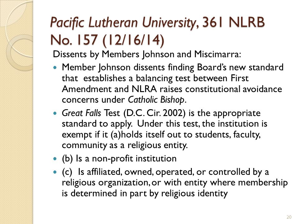 Pacific Lutheran University, 361 NLRB No.