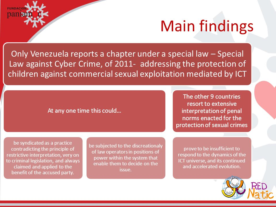Main findings Only Venezuela reports a chapter under a special law – Special Law against Cyber Crime, of 2011- addressing the protection of children a