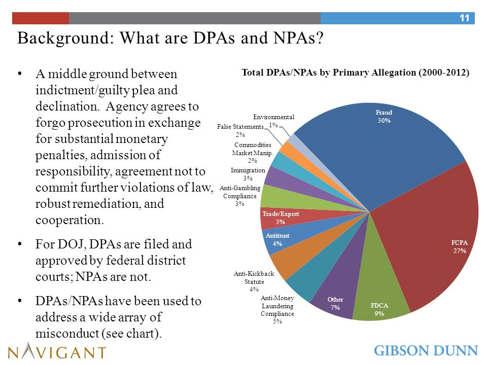 Background: What are DPAs and NPAs.