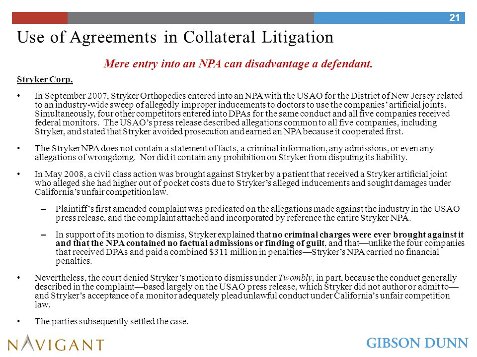Use of Agreements in Collateral Litigation Beazer Homes Inc.